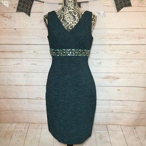 Eliza J Green Beaded V-Neck Cocktail Dress Size 8